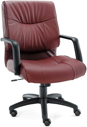 Alera ST42LS30B Stratus Series Leather Mid-Back Swivel/Tilt Chair, Burgundy