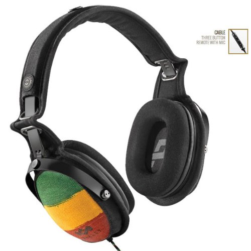 Brand New Marley Em-Jh063-Ra Rise Up Rasta Headphones Three Button Remote Mic Iphone Ipad