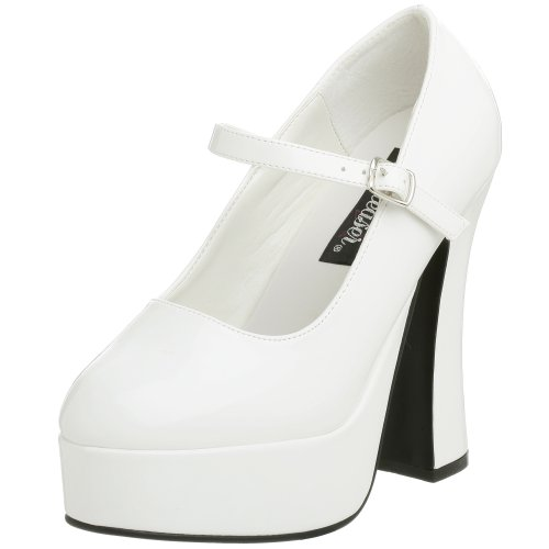 Pleaser Women's Dolly-50,White Patent,7 M