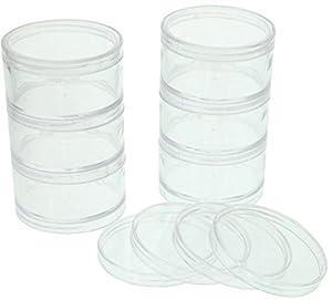 SE - Storage Container Set - Plastic, Round, Screw Top, 6 Pc - 8744SBB
