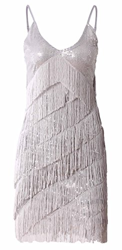 [JustinCostume 1920s Sequins Tassel Cocktail Latin Party Dress, XS, Silver] (Latin Themed Party Costume)