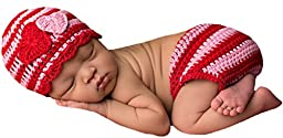 Melondipity\'s Striped Hearts Baby Girl Hat and Diaper Cover Set - Newborn Girls