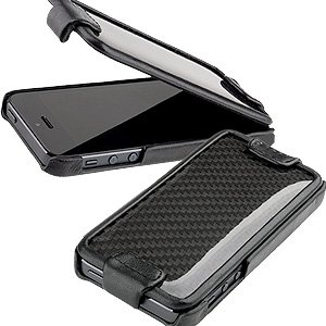 Best Price ION Factory CarbonShield Flip Cover Case for iPhone 5 - Black Leather