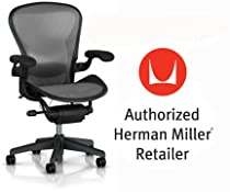 Hot Sale Herman Miller Aeron Chair Highly Adjustable with Lumbar Support Pad with Translucent H9 Hard Floor Casters - Large Size (C) Graphite Dark Frame, Classic Platinum Pellicle Suspension Material Home Office Desk Task Chair