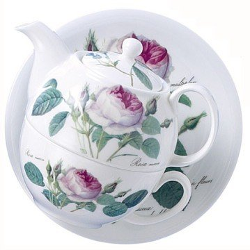 Roy Kirkham Redoute Rose Tea for One Teapot, Cup & Saucer in Fine Bone China (Catering Teapots compare prices)