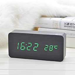 Elecsmart Black Wooden Grain Design Green Light Decorative Desktop Alarm Clock with Time and Temperature Display - Sound Control - Latest Generation (Usb/4xaaa)