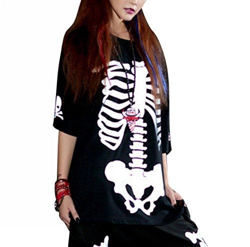 Uget Women'S Loose Hip-Hop Short Sleeves T-Shirt Tops-Black