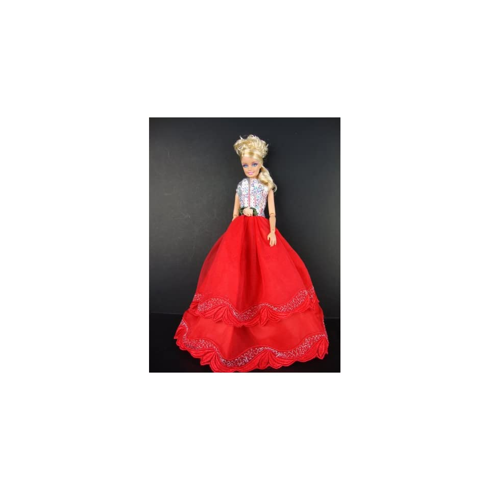 Silver Sequined Ball Gown Made to Fit Barbie Doll