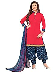 Vidhya LifeStyle Women's Glaze Cotton Patialas Unstitched Dress Material(Red)