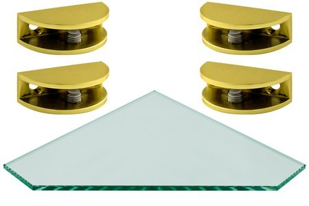 Peri Series Corner Pentagon Glass Shelf Kit 12 x 12 w Round Brass ...
