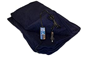 "Trillium Worldwide Car Cozy 2 12-Volt Heated Travel Blanket (Navy, 58"" x 42"")"
