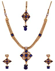 Ganapathy Gems 1 Gram Gold Plated Necklace Set With Royal Blue And White CZ Stones With Mangtika