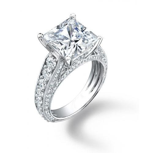 Princess Cut Diamond Engagement Rings With Side Stones