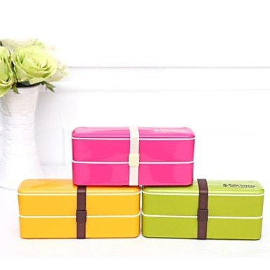 Plastic Candy Color Double Portable Sushi Microwave Bento Lunch Box ,20X6X8.5Cm