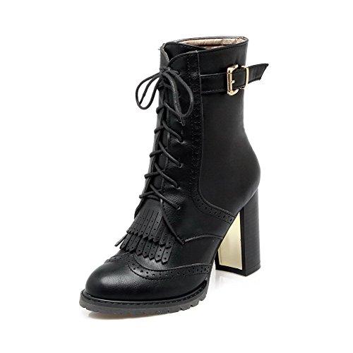 VogueZone009 Donna Tacco Alto Bassa Altezza Puro Allacciare Stivali con Frange, Nero, 38