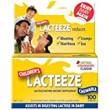 Lacteeze Childrens 100 chewable tablets Strawberry