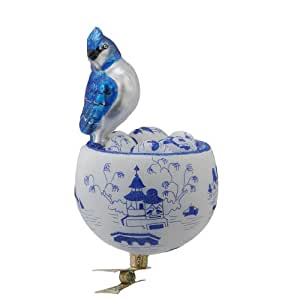 David Strand Kurt Adler Glass Birds Nest Blue Jay Clip-On Ornament, 5.9-Inch