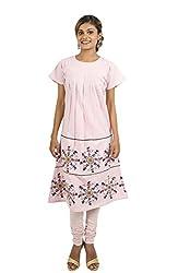 Kandida Dandiya Print Bell Sleeves Pink Cotton Kurta