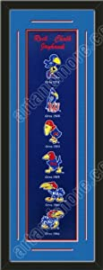 Heritage Banner Of Kansas Jayhawks With Team Color Double Matting-Framed Awesome... by Art and More, Davenport, IA