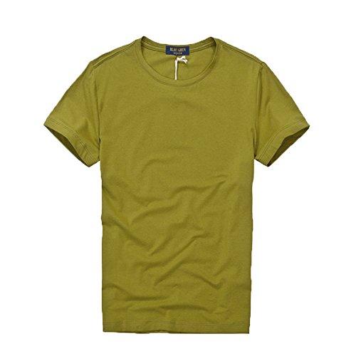 La Nuova Tendenza Di Uomini Semplici Collo Tondo In Cotone a Maniche Corte T - Shirt (Cachi)