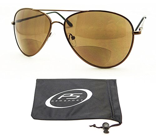 Classic Tear Drop Aviator Bifocal Sunglasses for Men with Durable High Nickle Frames. Available From 1.50, 2.00, 2.50 and 3.00. Free Microfiber Cleaning Case Included.
