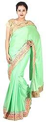 Kasturi Sarees Basement Women's Crepe Saree (Green)