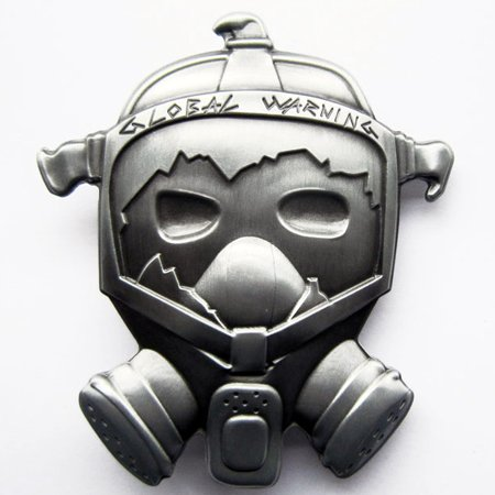 Buckle Gasmaske Global Warning, Umwelt - Gürtelschnalle