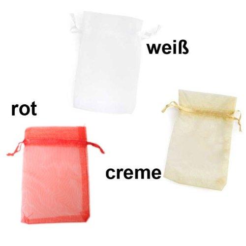 10 Organza Säckchen Beutel 12,5 x 8 cm Mitgebsel Tüte Stoff Organzasäckchen, Farbe:rot