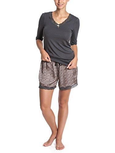 Vive Maria Damen Zweiteiliger Schlafanzug Soft Satin Short Pyjama allover, Gr. 40 (Herstellergröße: L), Grau