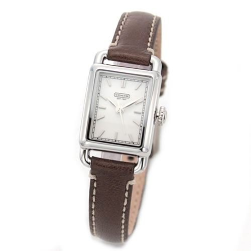 Coach Women's Hamptons Elongated Brown Leather Strap Watch 14501259