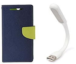 Novo Style Book Style Folio Wallet Case MicromaxCanvas MagnusA117 Blue + Mini USB LED Light Adjust Angle / bendable Portable Flexible USB Light