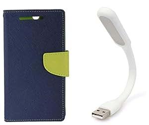 Novo Style Book Style Folio Wallet Case NokiaLumia520 Blue + Mini USB LED Light Adjust Angle / bendable Portable Flexible USB Light