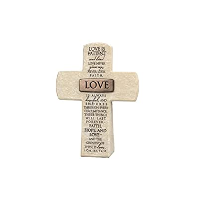 "Lighthouse Christian Products Love Title Bar Desktop Cross, 5 1/2 x 4"", Bronze"