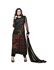 Paheli Embroidery Black Net Straight Long Party Wear Dress Material