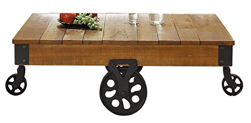 Homelegance Factory Modern Industrial Style Coffee Table, Rustic Brown (Table Wheels compare prices)