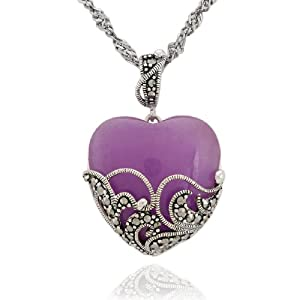 """Sterling Silver Marcasite and Lavender Jade Heart Pendant Necklace, 18"""""""