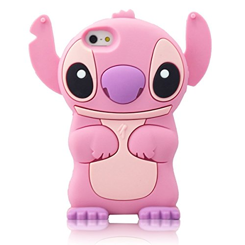 iPhone 6 Plus 6S Plus Case, Anya 3D Cute Bow Superhero Series Style Cartoon Soft Rubber Silicone Back Shell Case Cover Skin for Apple Iphone 6 6S Plus 5.5 inch Lilo Stitch Movable Ear Pink at Gotham City Store