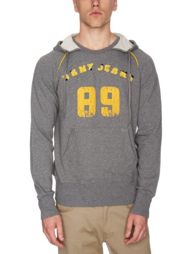 DKNY Long Sleeve Raglan Logo Print Hoodie Men's Jumper Medium Heath Grey X-Small