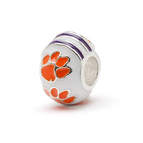 Clemson University 3-D Round Bead Charm - WHITE with Orange Paws - Fits Pandora & Others