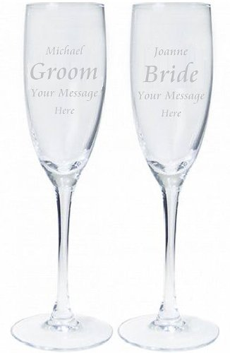 Pair of Personalised Engraved Bride and Groom Champagne Flutes