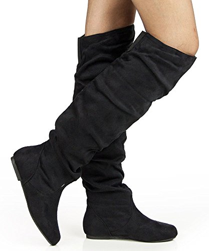 Women's NEW Slouchy Over The Knee High Boots by ROOM OF FASHION,12 B(M) US,Black Suede