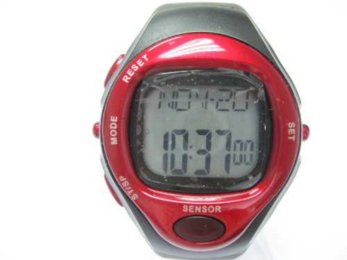 Heart Rate Monitor Calories Counter Fitness Pulse Watch Wristwatches Sports Watch Digital Running Timer With Senser Red & Black