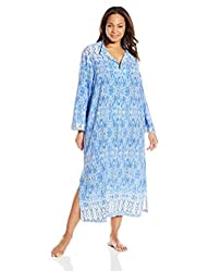 Oscar de la Renta Pink Label Women's Plus-Size Printed Stretch De Chine Caftan