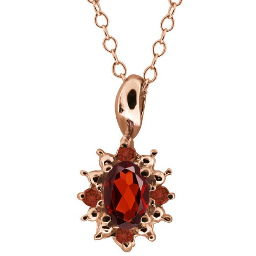 0.63 Ct Oval Red Garnet and Cognac Red Diamond 14k Rose Gold Pendant