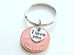 I Love You Heart Charm Layered Over 1994 Penny Keychain, 22 Year Anniversary Gift, Couples Keychain from Jewelry Everyday