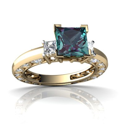 14K Yellow Gold Square Created Alexandrite Engagement Ring Size 7