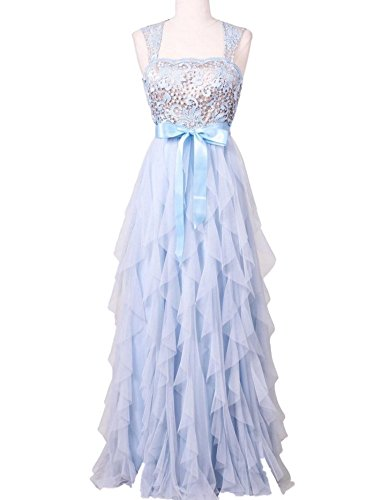 Teeze Me Ice Blue Lace Ruffled Tule Stretch Prom Gown Dress-Size 1