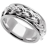 Handmade Braided 14k White Gold Band (8MM)