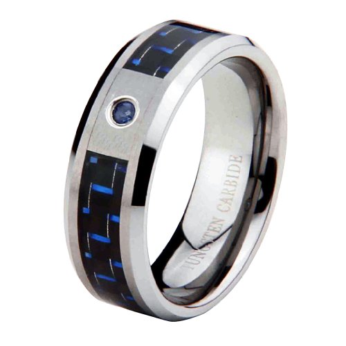 8mm 1 One Stone Saprhire Carbon Fiber Cobalt Free Tungsten Carbide COMFORT-FIT Wedding Band Ring for Men and Women (Size 8 to 12) - Size 9