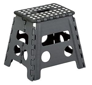 Zeller 99161 Tabouret pliant en plastique noir/anthracite 37 x 30 x 32 cm